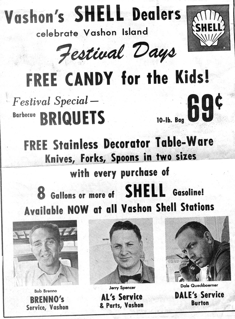 1970's Shell Dealers ad. From the Vashon Beachcomber.