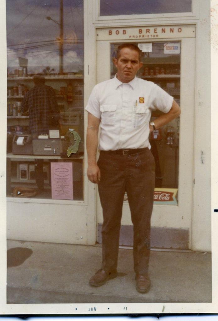 Bob Brenno in front of Brenno's Service. Brenno family photo
