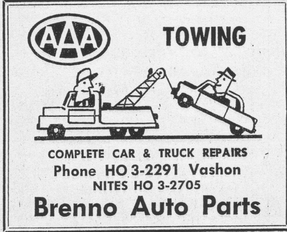 Brenno yellow pages ad from 1958 Vashon phone book.