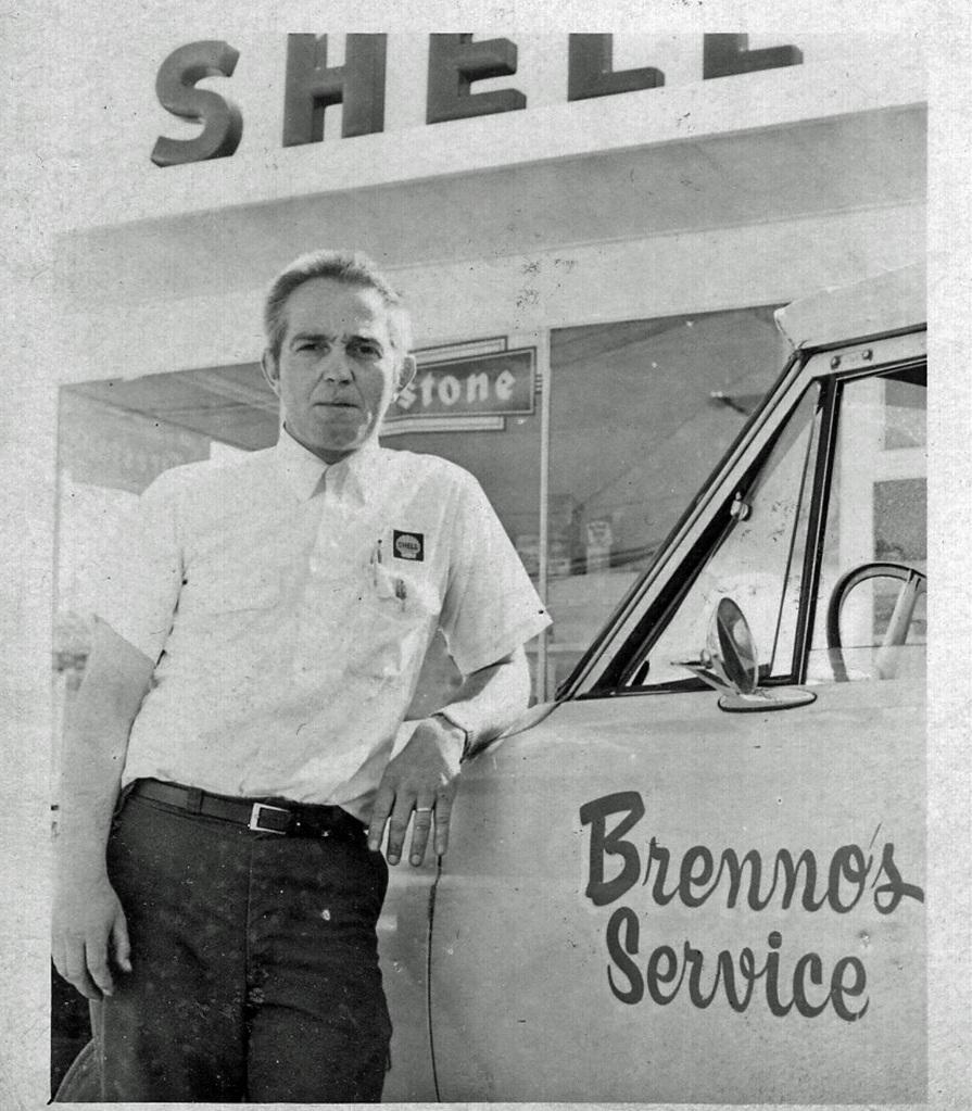 """Bob Brenno in front of the """"new"""" Brenno's Service Station. Brenno family photo."""